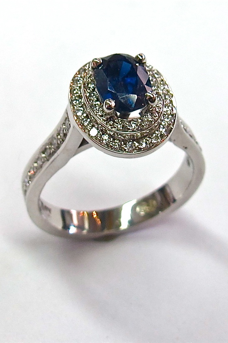 18ct White Gold Sapphire and Double Halo Engagement Ring Diamond Creations
