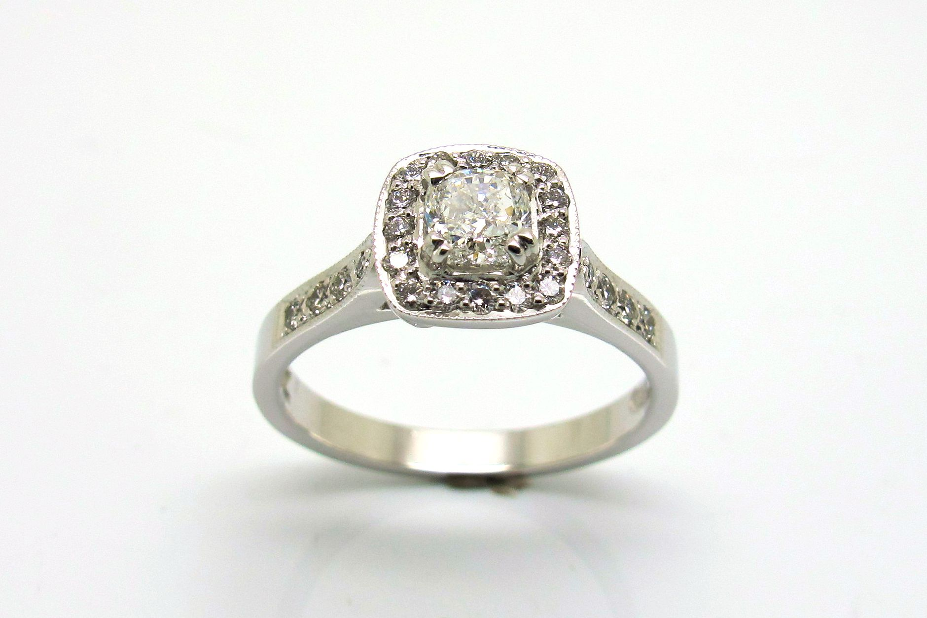 18ct white gold 0 50ct cushion cut engagement ring