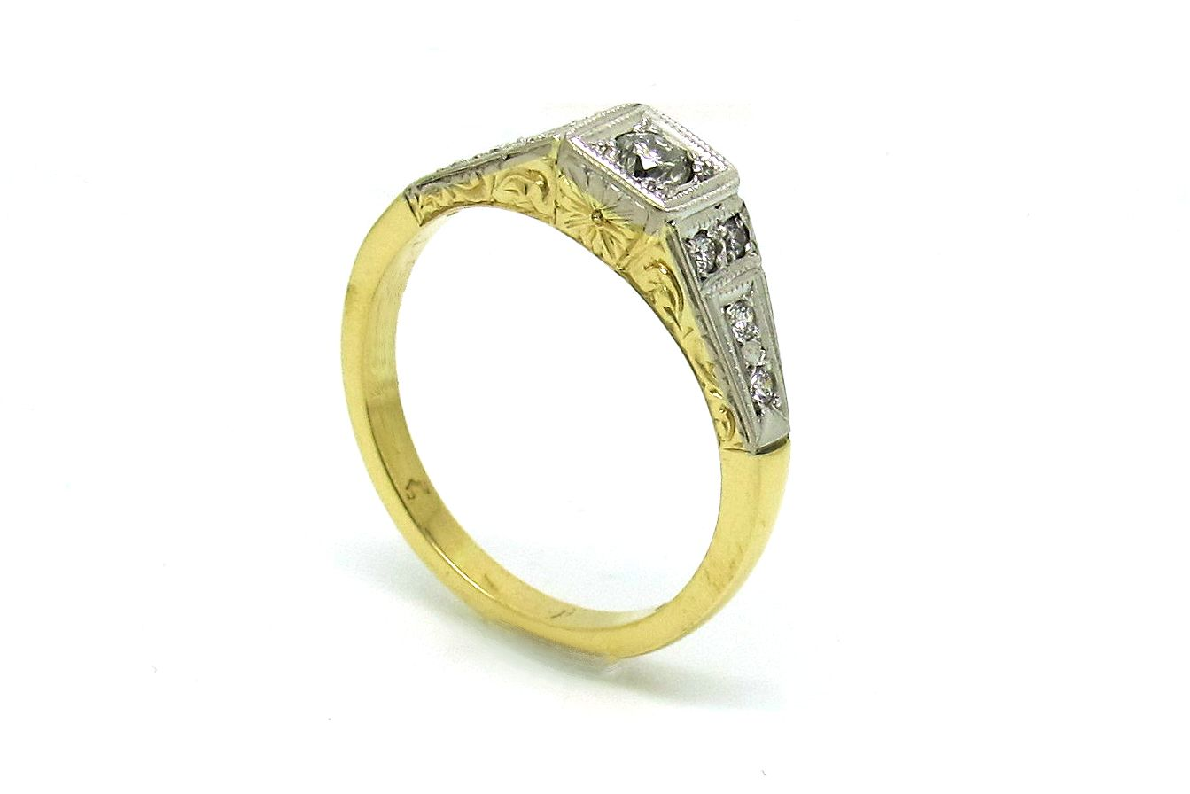 18ct yellow and white gold antique styled engagement ring