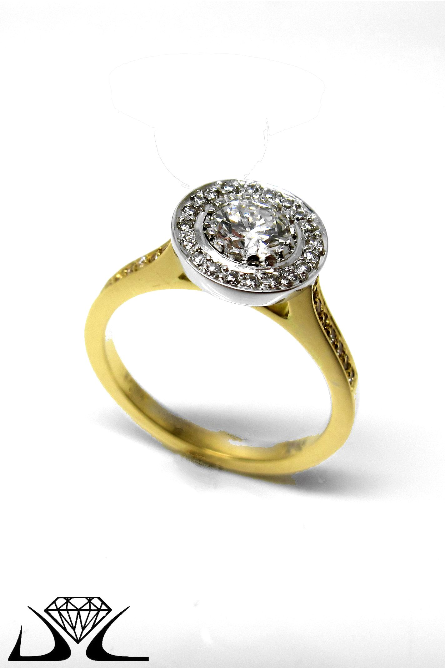 18ct yellow and white gold halo engagement ring